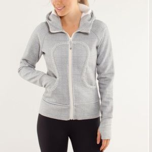 Lululemon Scuba Hoodie Glen Check Cream Silver